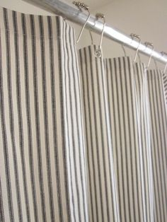 Ticking Stripe Shower Curtain IN STOCK Black, Dark Blue, Classic Tan - 3 Colors Available. $58.00, via Etsy.
