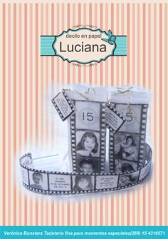 Una vida de película fue el eslogan del cumpleaños de Luchi. La tarjeta en papel vegetal trató de expresar como una película partes de esa vida.