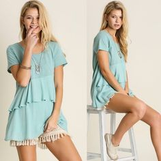 SALEbMint Ruffle Blouse AVAILABLE in SMALL, MED  •Mint Color •2 Tier Ruffle Design •65% Cotton, 35% Polyester   Small: 36in B, 28in L Medium: 38in B, 29in L Large: 40in B, 29in L  Model is wearing size Small.   •••••••••••••••••••••••••••••••••••••••••••••  Hello! I'm Monika. I'm a Boutique Owner & an Entrepreneur Mentor. Welcome to my closet!   Let's keep in touch  Instagram: @monikarosesf YouTube: MonikaRoseSF Snapchat: itsmonikarose Monika Rose SF Tops Blouses