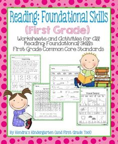 This is a packet of worksheets and activities designed to teach all Reading: Foundational Skills Common Core Standards for First Grade.  Included in this packet:*Features of Print: Identify and count sentences*Short and Long Vowel Sort*Blending Words*Same Sounds: Identify the words that have the same beginning, middle, and ending sounds*How Many Sounds?: Count the phonemes in a given word*Digraphs: Choose the correct digraph to complete each word*Match the Word (2): Read and identify one…