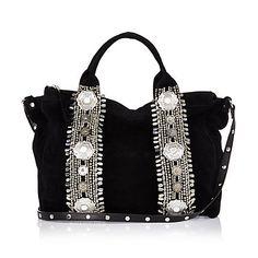 Black suede embellished bowler bag €100.00