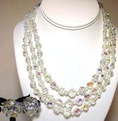 Crystal AB Beaded 3 Strand Necklace Earring Set Vintage Glass Parure | eBay