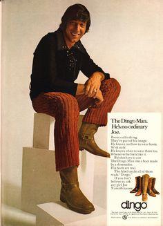 1970 Dingo Boot Advertisement with Joe Namath Playboy October 1970 Retro Advertising, Vintage Advertisements, Vintage Ads, Vintage Outfits, Vintage Fashion, 70s Fashion, Vintage Clothing, Acme Boots, Dingo Boots