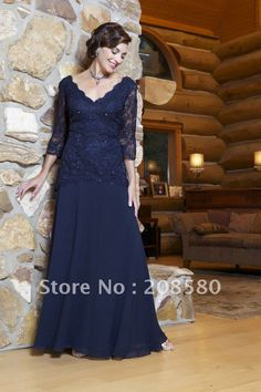 One-piece long sleeve beaded lace plus size mother of the bride gowns dresses chiffon M317 $130.55