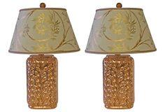 Copper Leaf Ceramic Lamps, Pair on OneKingsLane.com