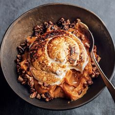 """Sweet Potato Puree with Marshmallow and Pecans from the cookbook """"Collards & Carbonara: Southern Cooking, Italian Roots""""."""