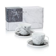 Buy the Carrara Set of Two Marble Teacups & Saucers at Oliver Bonas. Enjoy free UK standard delivery for orders over £50.