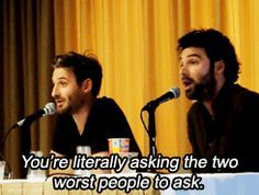"""""""How do you pronounce the dragon's name?""""  -  """"Smog."""" """"I thought it was Smaowg?"""" Dean O'Gorman and Aidan Turner"""