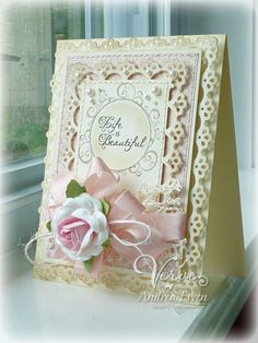 Beauty in Shabby - Scrapbook.com  What a lovely wedding card this would be
