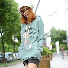Long Sleeve Thickening Hooded Fleece Hoody Hoodie Sweater Coat with Cute Cartoon Pattern for Girl NDD-53357