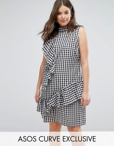 Buy it now. ASOS CURVE Gingham Dress with Frill - Multi. Plus-size dress by ASOS CURVE, Woven cotton, Gingham print, High neck, Frill details, Relaxed fit, Machine wash, 100% Cotton, Our model wears a UK 18/EU 46/US 14 and is 180cm/5'11 tall. Say goodbye to awkward-fitting plus-size fashion with our ASOS CURVE collection. Giving shout-outs to denim, occasionwear and jumpsuits, our London-based design team nail your new-season fashion goals with new shapes and fits for (UK) sizes 18-30. Work…