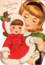 Vintage To Daughter With Love Christmas Greetings Card