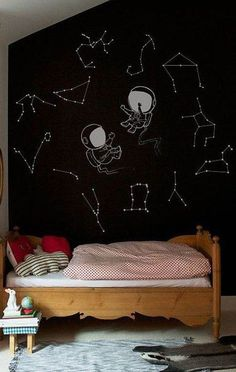 Fun Kid's Space Themed Bedroom Design Ideas. Find and save ideas about Space theme bedroom in this article. Outer Space Bedroom, Bedroom Themes, Bedroom Ideas, Kids Bedroom, Space Theme Bedroom, Bedroom Decor, Childrens Bedroom, Trendy Bedroom, Kids Rooms