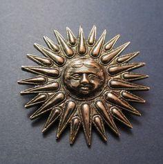 French Sterling Silver Sun Brooch