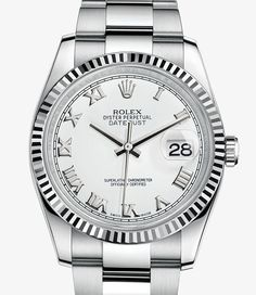 Rolex Datejust Watch: White Rolesor - combination of 904L steel and 18 ct white gold - 116234