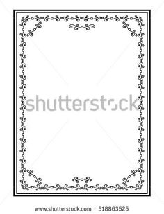 Vintage rectangular black frame with elements of curls. Vector isolated page pattern on a white background.
