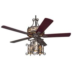 """60"""" John Timberland Seville Iron Ceiling Fan With Remote"""