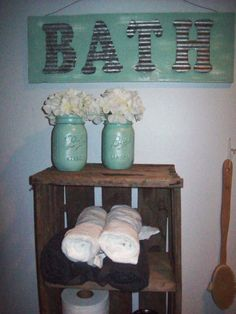 SPRING SALE Rustic BATH Sign And Mason Jar Set by RusticPleasures