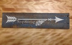Rustic keep aiming arrow wood picture sign by Chrisannacustoms