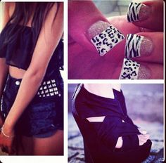 Black crop top with black short that have some jewels on it and black heels and cheetah and zebra nails