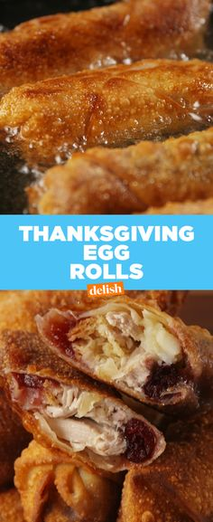 Brie + Turkey + Cranberry = The best thing to happen to an egg roll. Get the recipe at Delish.com. #brie #cheese #cranberry #gravy #turkey #Leftovers #ThanksgivingRecipes #recipes #easyrecipes #Thanksgivingleftovers #easy #delish