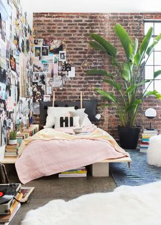 Emily Henderson Target Dorm Room Back To School Boho Eclectic Collage Wall Rocker Chic Musician Artistic Cinderblock Bed Leather Strap Headboard Diy 16