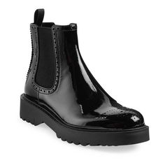 Prada Patent Leather Brogue Chelsea Boots ($750) ❤ liked on Polyvore featuring shoes, boots, ankle booties, boots/booties, ankle-boots, black, black booties, short boots, black boots and black bootie