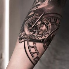 http://tattooideas247.com/sundial/ Sundial & Clock Tattoo #Bg, #BlackGrey, #Clock, #NikiNorberg, #Realistic, #Stunning, #Sundial