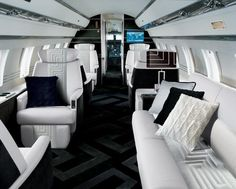 Private Jet, black and white interior _ by Versace _