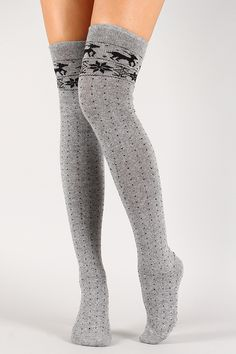 Reindeer Print Thigh High Socks #urbanog #holidaytrends  these are what I want for christmas