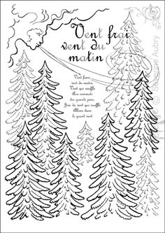 """""""Vent frais, vent du matin"""" printable coloring page and song lyrics Coloring Book Pages, Printable Coloring Pages, Coloring Sheets, French Lessons, Art Lessons, French Poems, Child Psychotherapy, Learn To Speak French, French Education"""