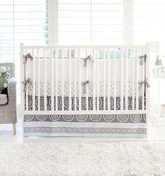 Gray & Aqua Baby Bedding | Harper in Aqua Crib Bedding Collection
