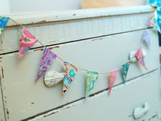 Shabby chic painted chest of drawers, Farrow & Ball, bunting, www.relovedvintageinteriors.co.uk