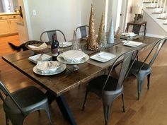 James 8 Foot Steel X Base Table Stained In Dark Walnut With Satin Black Metal ChairsMetal Dining