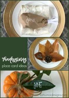 Quick and easy Thanksgiving place card crafts. These fun place card ideas that kids can make for the family feast. Easy materials and limited effort win here! Thanksgiving This Year, Thanksgiving Place Cards, Thanksgiving Projects, Hosting Thanksgiving, Thanksgiving Treats, Thanksgiving Centerpieces, Holiday Places, Kid Table, Card Crafts
