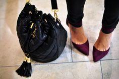 Pointed eggplant heels ~  bag is fabulous too.