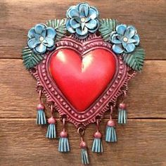 MEXICAN HAND CRAFTED TASSELED HEART