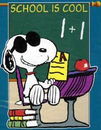 Snoopy in school Snoopy School, Joe Cool, Painted Boards, Charlie Brown And Snoopy, Classroom Community, Snoopy And Woodstock, Peanuts Gang, School Classroom, Dog Names