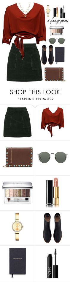 """""""#look #evening #236"""" by lizakruglikova ❤ liked on Polyvore featuring Topshop, Valentino, Ray-Ban, Christian Dior, Chanel, Movado, Smythson, NARS Cosmetics and Edge of Ember"""