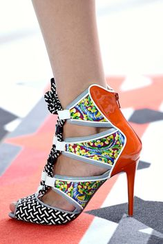 """""""Great mixed print with patent leather lace-up stilettos from Nicholas Kirkwood."""" Peter Pilotto Spring 2013 RTW"""