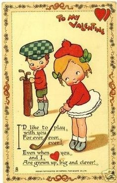 GOLFING SWEETHEARTS Valentine 1913 Postcard.