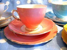 Vintage Colclough Bone China Trio, Pink teacup, saucer, plate. £18.00, via Etsy.