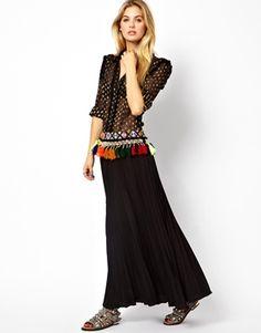 Strangely love this! Manoush+Drop+Waist+Maxi+Dress+with+Pom+Poms