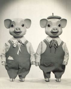 'Pinky and Perky' (1957-1973) British children's TV series created by two Czechoslovaks who settled in Yorkshire in 1948: Jan & Vlasta Dalibor.Pinky & Perky were twin boy pigs. Perky always wore a hat & they danced & mimed to the pop music of the day.They ran their own television station PPC TV where they were joined by John SlaterThe other puppets created by the Dalibor's included Basil Bloodhound, Morton Frog, Vera the Vixen & Conchita the Cow with her long eyelashes & endless supply of…
