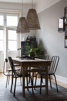 Greige, wood and rattan in interior designer Genevieve Jorn's workspace - photo: Niki Brantmark - My Scandinavian Home.