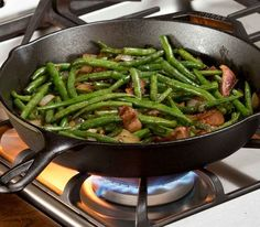 Herbed Green Beans cooked in a cast iron skillet.