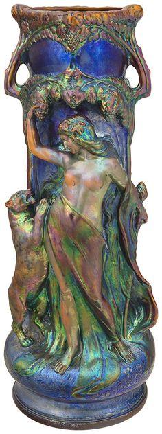 Zsolnay - Giant vase with sculpturesque scenes: Female figure with venerating panther, Zsolnay, Design by: Mack, Lajos Porcelain Ceramics, Ceramic Pottery, Pottery Art, Ceramic Art, Antique Pottery, Glazed Ceramic, Art Nouveau, Pre Raphaelite, Global Art