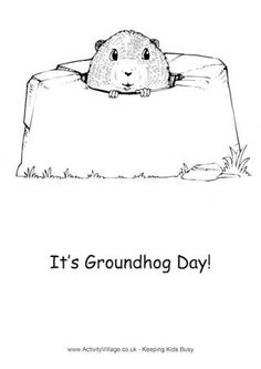 Groundhog Day Colouring Page