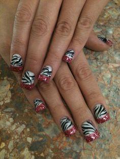 Pink French Zebra Rock Star Nails