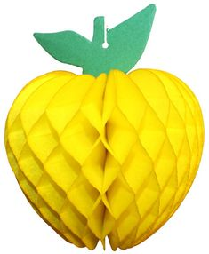Yellow 7 inch honeycomb apple decoration. Made in USA by Devra Party. Yellow Party Decorations, Honeycomb Decorations, Princess Party Decorations, Apple Decorations, Seasonal Decor, Fall Decor, Back To School Displays, Fruits Decoration, Honeycomb Paper